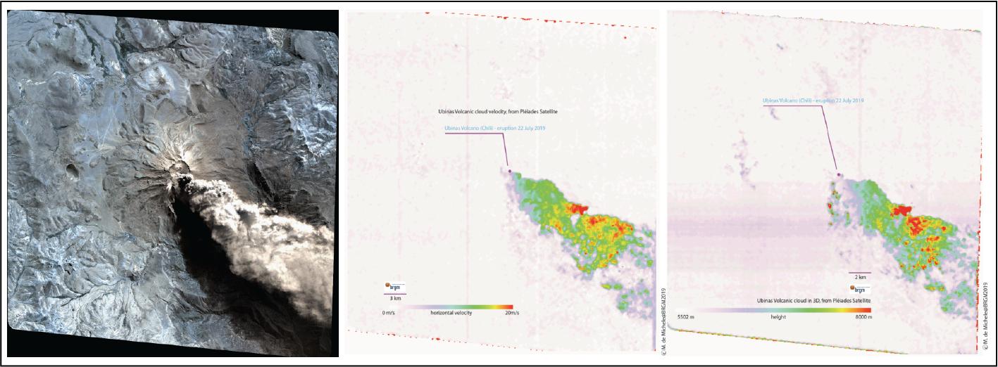 Ubinas volcano eruption (July 2019) Carte de hauteurs et des vitesses des nuages de cendres volcaniques BRGM